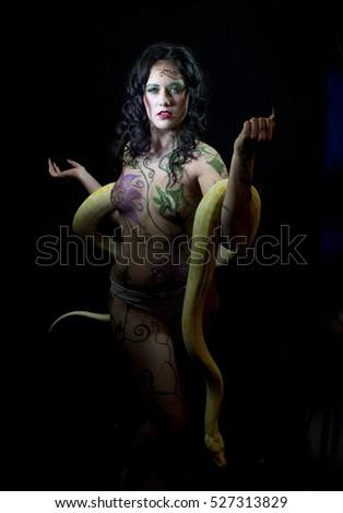 Female Body Painted Eve Burmese Python Stock Photo Edit Now