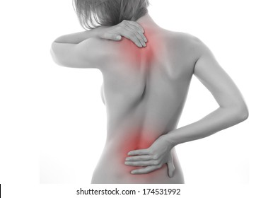 Female body showing pain in back spine.Medical concept
