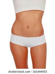 Female body in white underwear posing isolated