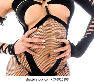 female body woman in BDSM wear with sexy body