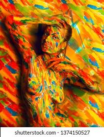 female in bodyart paint near multicolored wall in studio