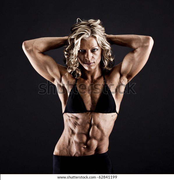 Female Bodybuilder Solid Defined Abs Stock Photo (Edit Now