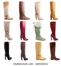 Female boots collection on white background