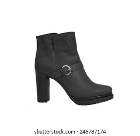 female boots over white background