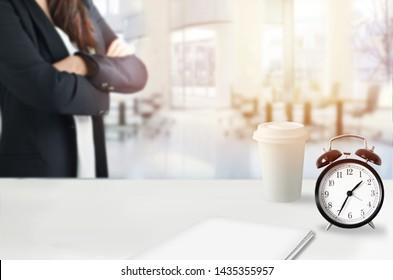 Female boss is waiting in office, deadline