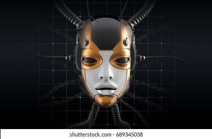 Female bot face on dark digital background. Artificial intelligence in virtual reality. Robot head conceptual design closeup portrait. 3d render