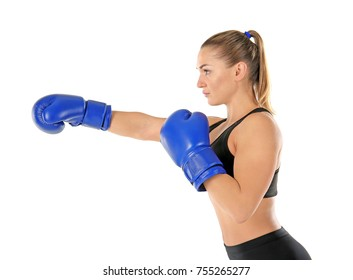 Female boxer on white background