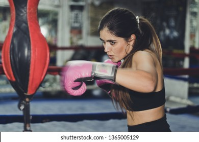 Female boxer in the ring