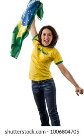Female brazilian fan celebrating on a white background.