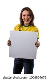 Female Brazilian Fan holding a blank board, on a white background.
