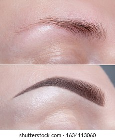 Female brow before and after modeling, coloring, makeup. Close up, macro.