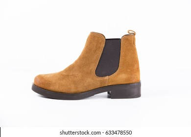 Female Brown Boot leather on White Background, Isolated Product, Top View