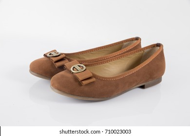 Female Brown Leather Shoe on White Background, Isolated Product.