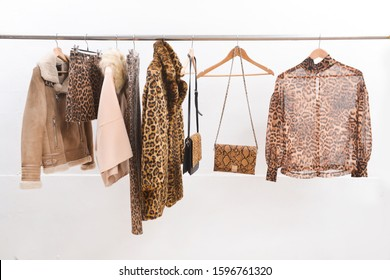female brown leopard pattern clothes, coat, jacket, brown sweater and snake pattern ,brown leather ,handbag ,skirt on hanger