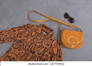 female brown snake pattern  sundress with handbag, sunglasses on gray background