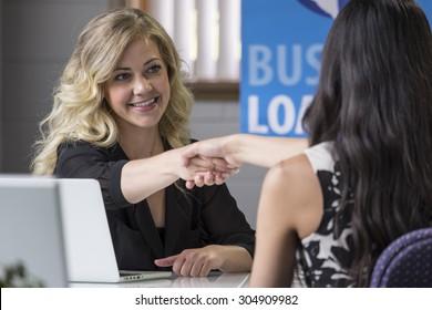 Female business loans worker