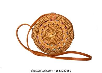 Female Cane Vanity Round Bag