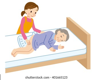"""female caregiver to elderly nursing care of woman """"Diaper changing"""""""