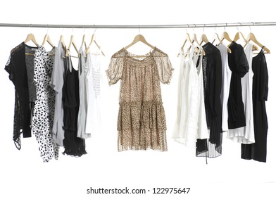 Female casual clothing hanging on hangers