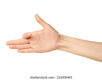 Female caucasian hand gesture isolated over the white background