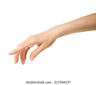 Female caucasian hand gesture of offering help isolated over the white background
