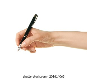 Female caucasian hand holding black pen, isolated over the white background