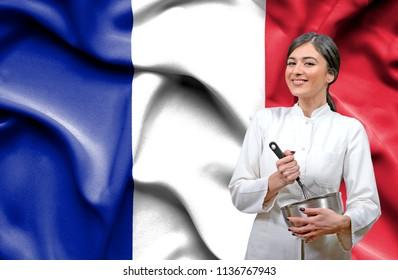 Female chef against national flag of France