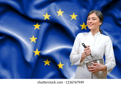 Female chef against national flag of European Union