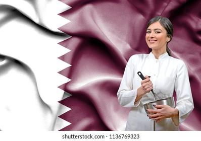 Female chef against national flag of Qatar