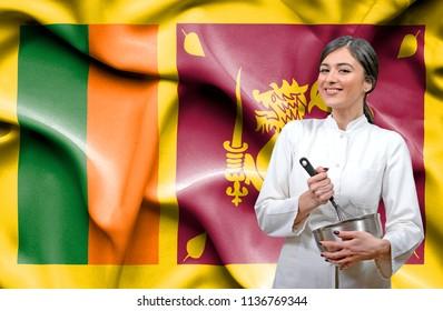 Female chef against national flag of Sri Lanka
