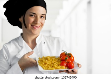 female chef with mediterranean light food