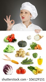 Female chef showing positive gesture over vegetable collection
