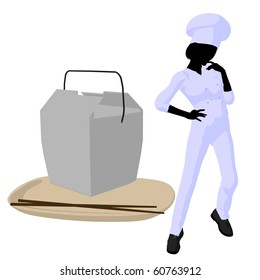 Female chef with a takout food container silhouette on a white background