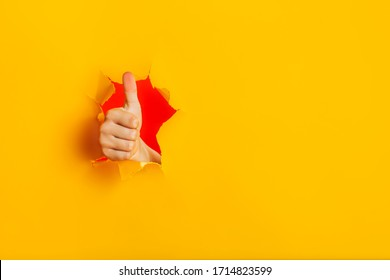 Female child hand gesturing the ok sign, like gesture through torn yellow paper wall, keeps thumb up. Approval sign, recommends something. Copy space fo text information. Best choice concept.
