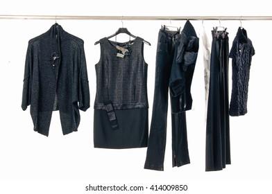 female clothes ,coat, jacket on Hangers