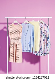 Female clothes on rack