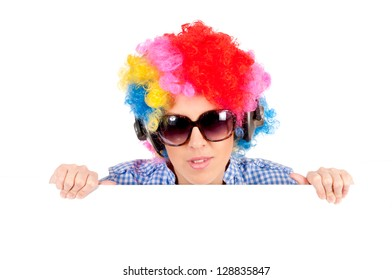 Female clown holding blank space