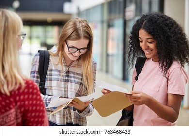 Female College Students Opening Exam Results