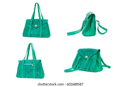 female color leather bag on a white background