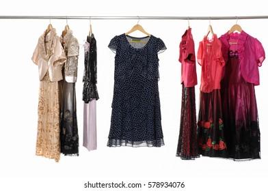 female colorful clothing ,sundress, coat on display