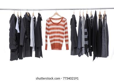 female colorful clothing ,sundress,coat, shirt, jacket  hanging on hangers-white background