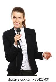 Female conference speaker isolated on white background