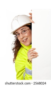 Female construction worker behind the blank banner