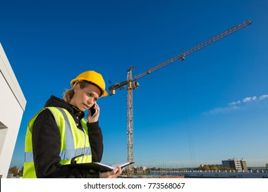 female construction worker concept