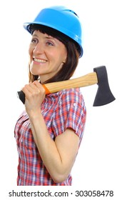 Female construction worker wearing protective blue helmet and holding axe, safety at work. Isolated on white background