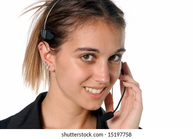 Female contact person with telephone headset
