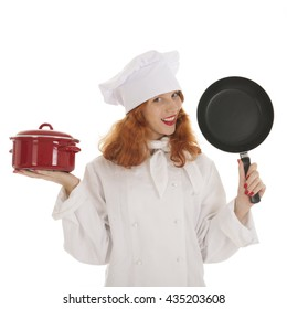 Female cook chef with red hair and pots and pans isolated over white background