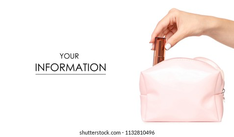 A female cosmetic bag lipstic cosmetics in the hand pattern on a white background isolation