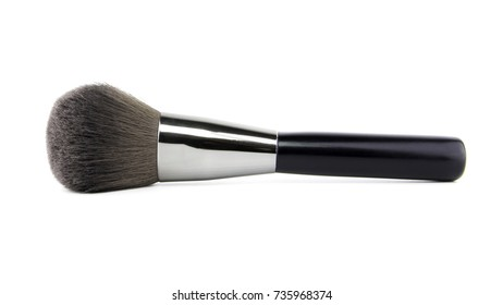 female cosmetics brushes for make up brush powder blusher isolated on white background. cosmetic brushes for a make-up, various width and used for the various purposes.