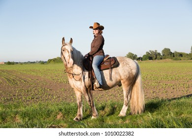Female cow girl sitting on her horse wearing cowboy hat and clothing, evening sun light.